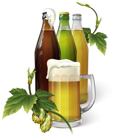 Beer mug, hops, three beer bottles Vector illustration. Illustration