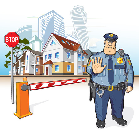 Police officer gesturing stop sign. Vectores
