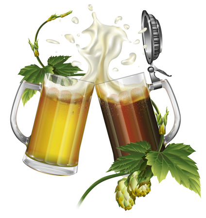 Two mugs with dark, light beer and hops