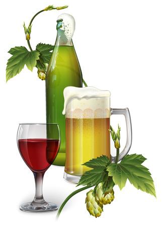 Jarra de cerveza, botella, lúpulo y una copa de vino. Foto de archivo - 99009128