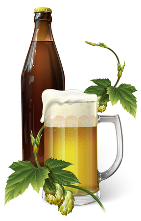 Beer mug, hops and beer bottle, vector