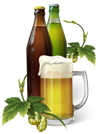 Mug with beer and beer in a bottle, hop, vector