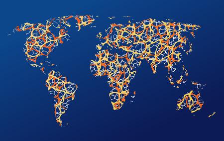 Mapa de la tierra, ilustración de comunicación. Foto de archivo - 99949070