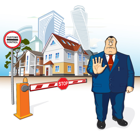 Boss prohibits, barrier, stop sign, buildings Illustration