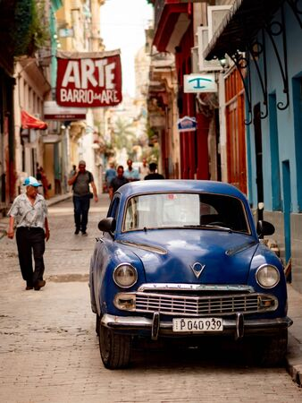 Old Havana, Cuba - June 18, 2018: Vintage Vauxhall parked in the Calle Villegas. The city wakes up in a normal weekday of June. Editoriali