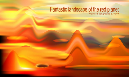 Vector abstract illustration, indistinct background for design, red extraterrestrial mountains
