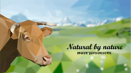 advertizing: The head of a cow against a background of alpine meadows . Polygonal vector illustration Illustration