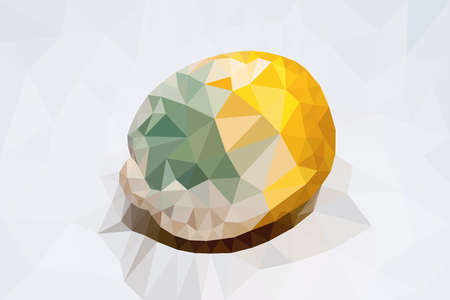 separately: polygonal lemon with a green mold separately from a background Illustration