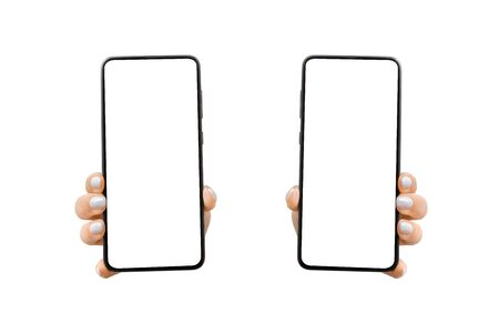 Woman's hand shows mobile smartphone with white screen in vertical position. Mock up mobile. isolated on white background. left and right options
