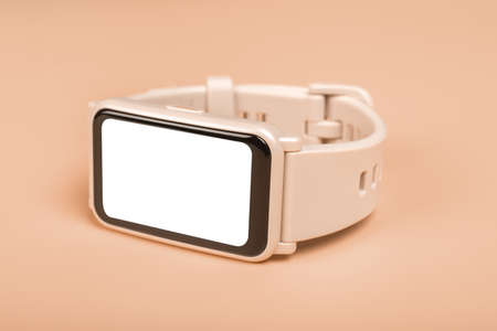 mockup fitness smart watch with blank white screen close up. fitness watch concept