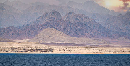 sinai mountains on the red sea riviera. Amazing Sunrise at Sinai Mountain, Beautiful dawn in Egypt, Beautiful view from the mountain. Ras Muhammad National Park, Egypt - colorful landscape Stock Photo