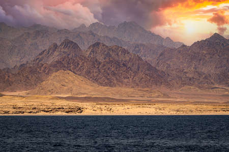 sinai mountains on the red sea riviera. Amazing Sunrise at Sinai Mountain, Beautiful dawn in Egypt, Beautiful view from the mountain. Ras Muhammad National Park, Egypt - colorful landscape