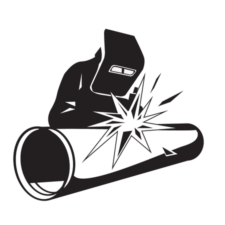 Vector illustration of a welder welding pipe