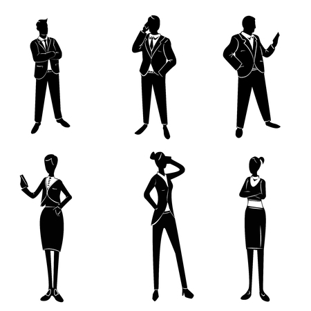 white collar: Vector illustration of a white collar workers set