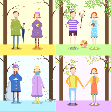 Vector illustration  of a children, four seasons