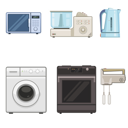 household appliances: Vector illustration of a six household appliances