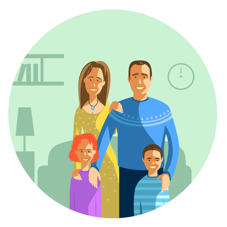 lovely couple: Vector illustration of a young happy family