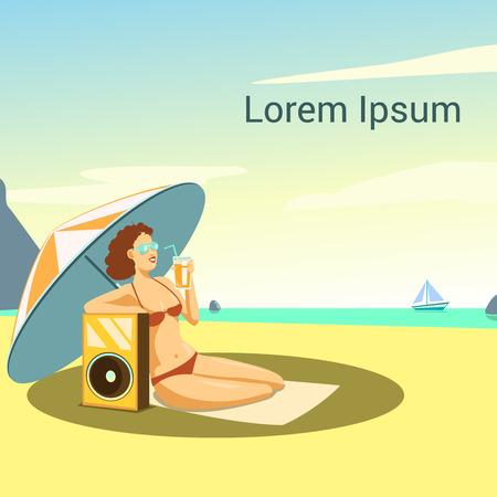 sexy umbrella: Vector illustration of a girl on the beach