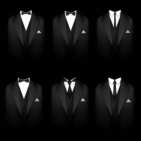 formal shirt: Vector illustration of a six black tuxedos