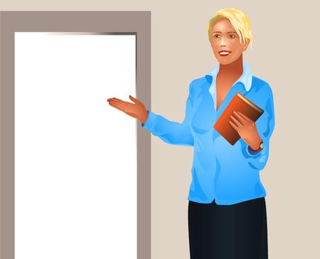 new opportunity: Vector illustration of a businesswoman invites enter Illustration