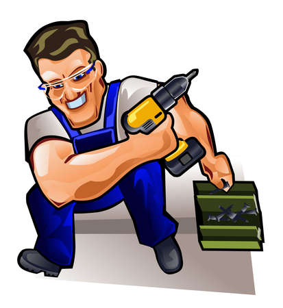 Vector illustration of a repairman with screwdriver