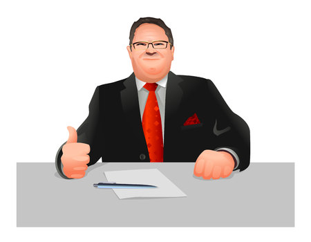functionary: Vector illustration of a official at workplace