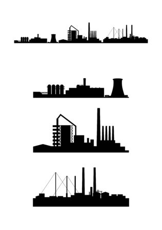 Vector illustration of a three factories silhouettes 版權商用圖片 - 54190818