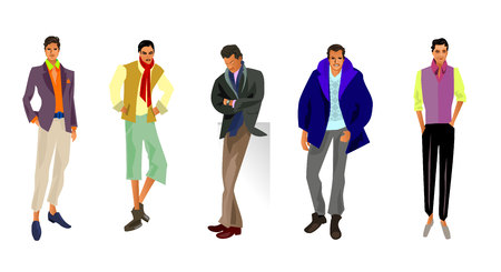 outwear: Vector illustration of a five fashionable guys