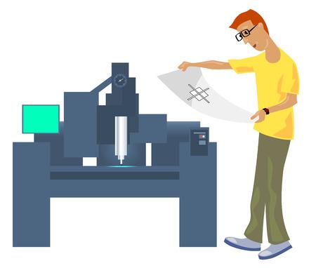 Vector Illustration eines Operator CNC mit Zeichnung Vektorgrafik