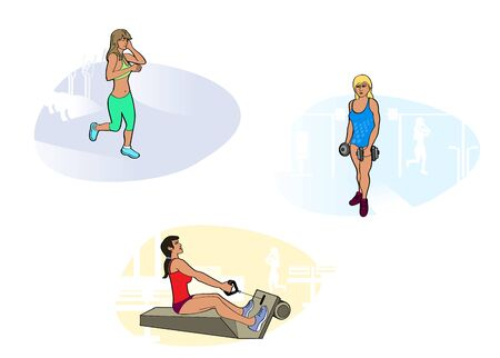 three girls: Vector illustration of a three girls in gym Illustration