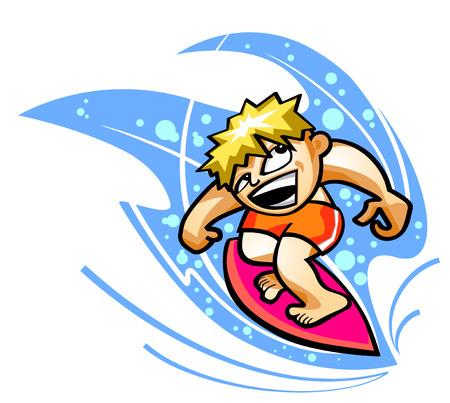 Vector illustration of a surfer on wave