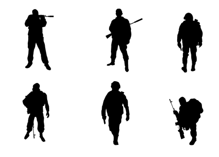 militant: Vector illustration of a six soldiers silhouettes