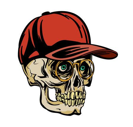 thug: Vector illustration of a skull in cup Illustration
