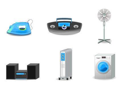 iron fan: Vector illustration of a six appliances set