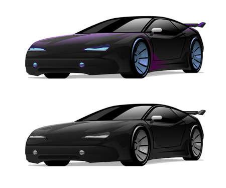 spoiler: Vector illustration of a black sport car