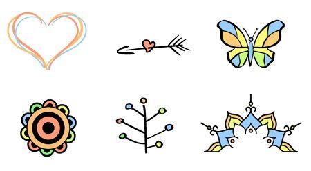 tattooing: Vector illustration of a six tattoo set