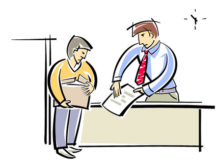 unemployed dismissed: Vector illustration of a chief dismisses subordinate
