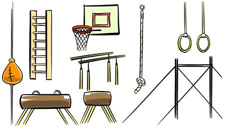 rope ladder: Vector illustration of a sport equipment set