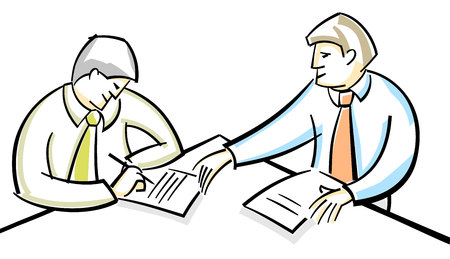 signing papers: Vector illustration of a two businessmen singing contract