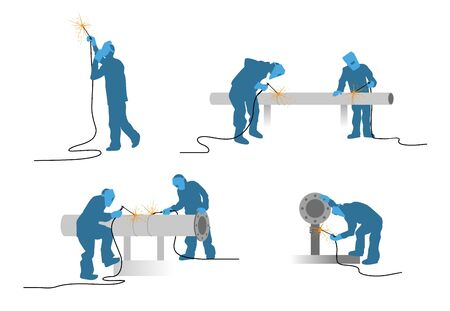Vector illustration of a welders silhouettes set