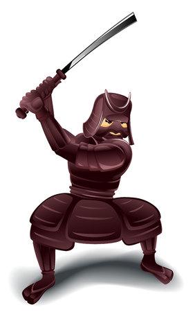 bushido: Vector illustration of a samurai with sword Illustration