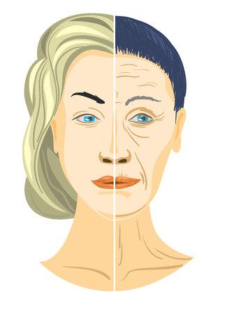 Vector Illustration eines zwei Teile des Gesichtes