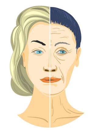 anti aging: Vector illustration of a two parts of face