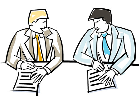 signing: Vector illustration of a two businessmen singing contract