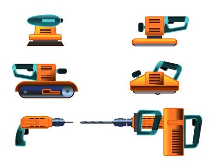 planos electricos: ilustración vectorial de un conjunto de herramientas eléctricas Vectores