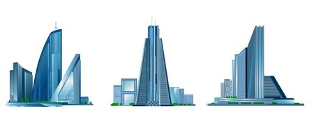 Ilustracja wektorowa z trzech nowoczesnym budynku