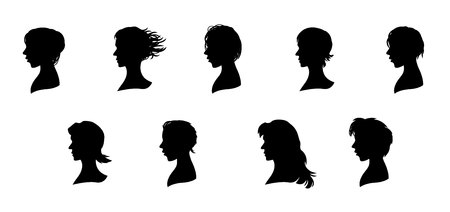 set of men hair styling: Vector illustration of a nine faces silhouettes