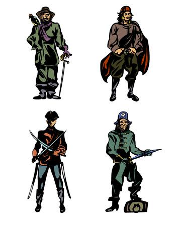 Vector illustration d'un quatre pirates courageux