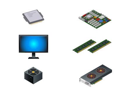 component parts: Vector illustration of a six computer parts Illustration