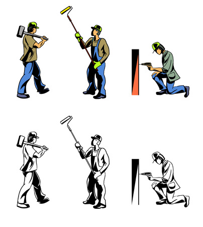laborer: Vector illustration of a three workers set